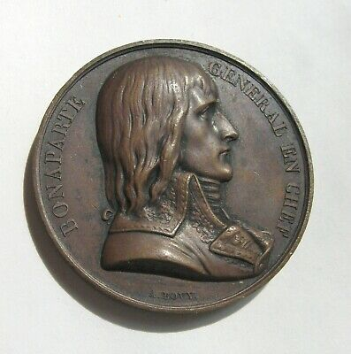 France Napoleon Battle of the Pyramids Egypt, Copper Medal by Bovy 41mm 44g