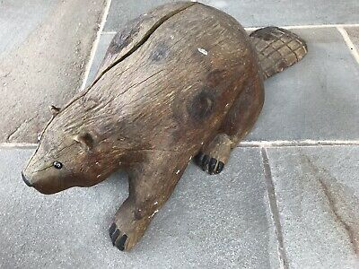 "Large 32"" Wooden Hand Carved Beaver Rare Antique"