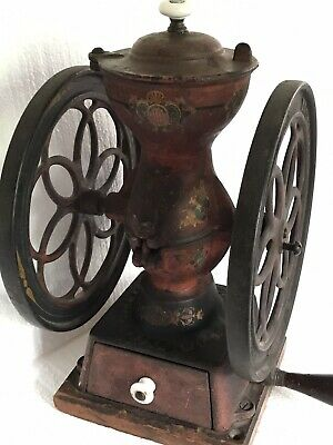 "Enterprise Double Wheel Coffee Grinder Mill Antique Table-top 8.75"" Wheels"