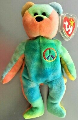 Peace Bear Ty Beanie Baby Mwmt Absolutely Gorgeous - Great Colors!!
