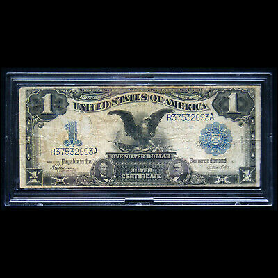 """1899 """"Black Eagle"""" $1 Silver Certificate Displays 2 Presidents Lincoln And Grant"""