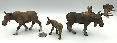 Schleich COW, BULL MOOSE & CALF 2009 Retired 14719 14620 14621 Wildlife Figures