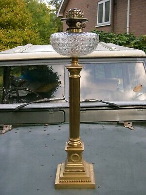 Hinks Banquet Column Oil Lamp Cut Crystal Font, Early Duplex Kerosene Burner