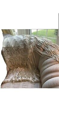 Antique Wool Embroidered Fringe Piano Scarf Shawl