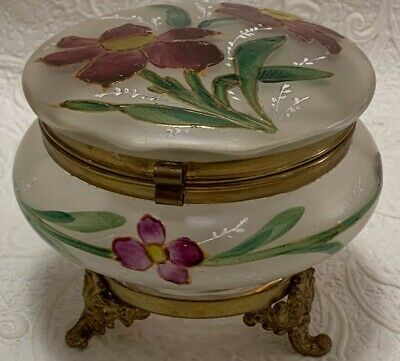 Antique Frosted Glass POWDER BOX Floral Enameled Vanity Jar Hinged & Footed