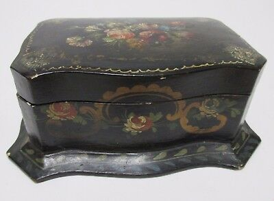 Antique PAPER MACHE TRINKET BOX Hand Painted Cloth Lined Jewel Box FlowersScroll