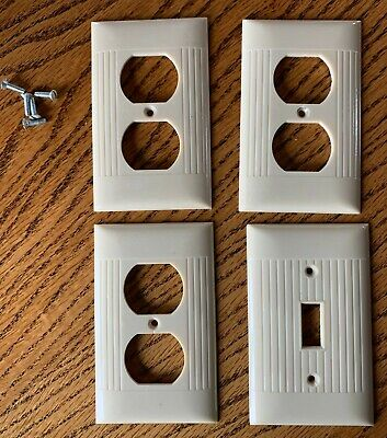 Vintage Bakelite Electrical Switch Outlet Plate Covers Ivory Usa Made