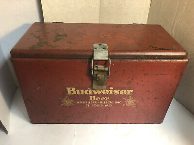 vtg BUWEISER Anheuser Busch BEER Metal Cooler Ice Chest with Tin Food Container