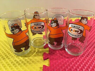 Vintage Set of 4 A&W Root Beer Family Restaurant Hugging Bear Glass Tumbler Mint