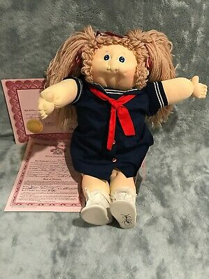 1984 Little People Soft Sculpture Cabbage Braids Girl Papered Big Head