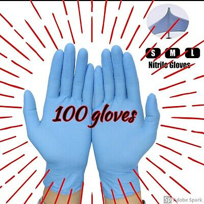 '100 PCS LARGE Blue Nitrile Gloves Latex Powder Free Personal Protective Gloves