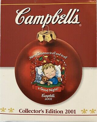 2001 Campbells Soup Collectible Glass Christmas Ornament w/Box Rare!!! Hot!!!