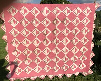 Old Antique Pink And Cream Basket Quilt