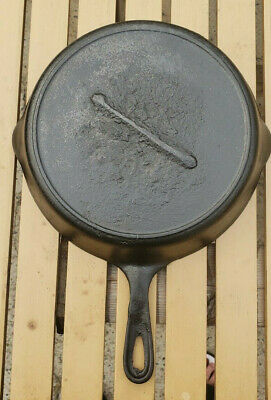 Antique Gate Mark Cast Iron Skillet Heat Ring Fancy Ornate Handle Civil War Vtg