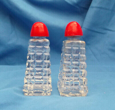 Vintage Honeycomb Cut Glass Salt and Pepper Shakers
