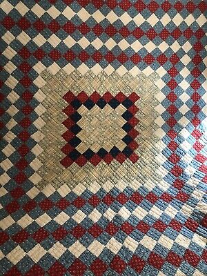 """Antique Patriotic Red White & Blue Plaid Polkadotted Checkered Quilt 66""""x 70"""""""