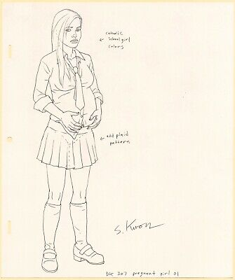 Metalocalypse Original Animation Art: Pregnant Girl