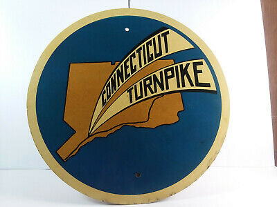"RARE 1950s Authentic ""Connecticut Turnpike""  Gas Oil Reflective Metal 20"" Sign"
