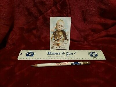 Vintage Hires root beer advertising Ruler, Pencil, and story card / Trade Card