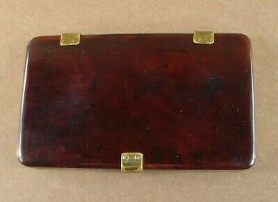 Vintage Celluloid Cigarette Case with Brass Hinges and Clasp