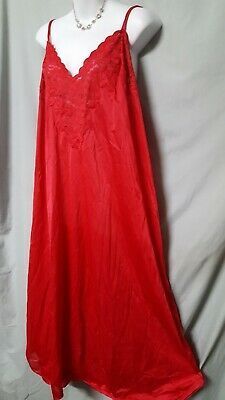 """Ventura Red Long LENGTH  Nightgown W/LACE TRIM   Sexy SIZE 5X   62"""" BUST"""