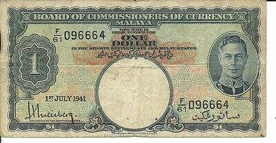 MALAYA & BRITISH ADMINISTRATION  1 dollar 1941 P - 11