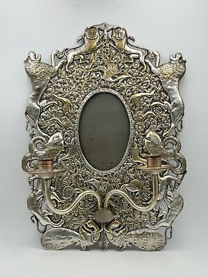 Antique Vintage Silver Plate Wall Sconce Mirror Candles Animals Peacock Lions