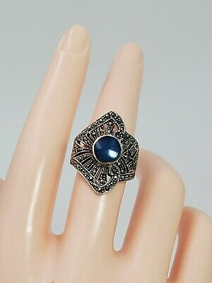 Vintage Signed Marcasite Sterling Silver 925 Ring With Blue Stone Size- 8