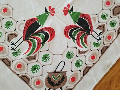 Vintage Mid-Century Cotton Tablecloth Rooster Americana 40x49