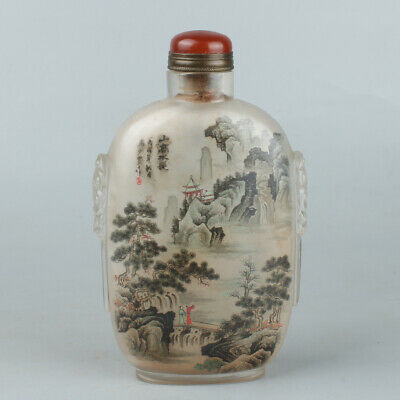 Chinese Exquisite Handmade landscape Inner painting Glass snuff bottle