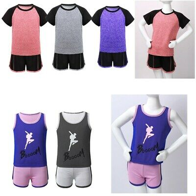 Kids Boys Girls Activewear Outfit Short Sleeves Tops T-shirt+Shorts Tracksuit