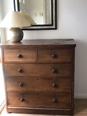 Antique chest of drawers. Mahogany. Large. Victorian. 5 drawers: 2 small, 3 wide