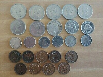 Lot of 25 Canada Coins 1940 - 1974