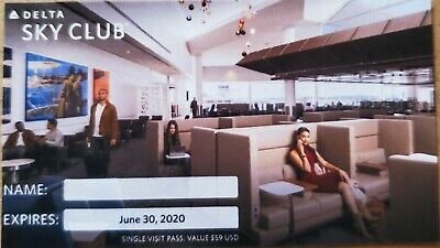 Delta Sky Club Single Visit Pass - Expires 6/30/20