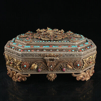 Chinese Exquisite Handmade White copper mosaic Turquoise crystal coral Gilt box