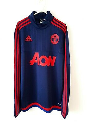 Manchester United Training Jumper. Small Adults. Adidas. Blue Man Utd Football S