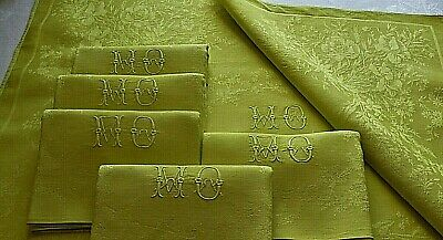 6 vintage French linen napkins,hostess gift,Chartreuse,dinner table napkins
