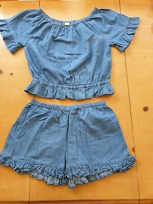 NEXT Girl's Blue Top, Shorts Summer Outfit Size 15 to 16 Years
