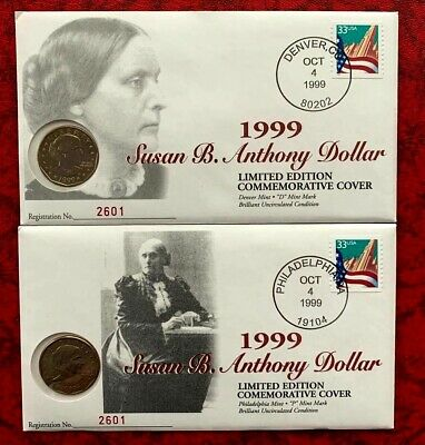 Susan B. Anthony Dollar in Cover, Two Philadelphia Mint, Limited Edition