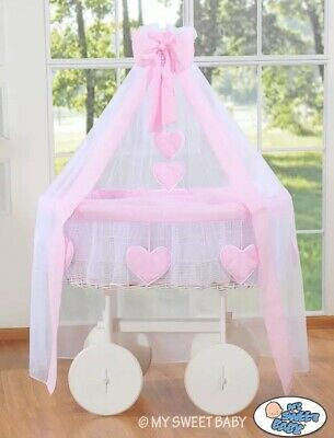 My Sweet Baby Deluxe Wicker Rolling Crib Deluxe Covers Pink New Un-Used Gift