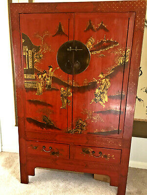 Beautiful Antique Chinese Red Lacquer Painted Cupboard Armoire Gold Gilt Deco