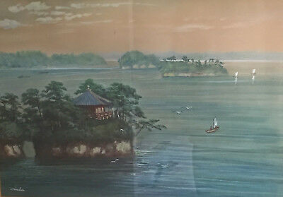 Stunning Antique Japanese Watercolour Painting of Island Scene - By Chiba