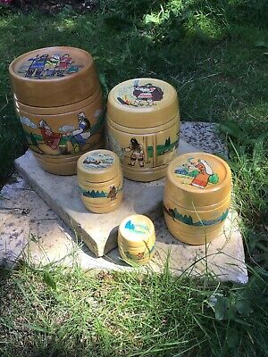 Vintage Wooden Stacking Barrels, Viking, Scandinavian, Hand Painted Folk Art