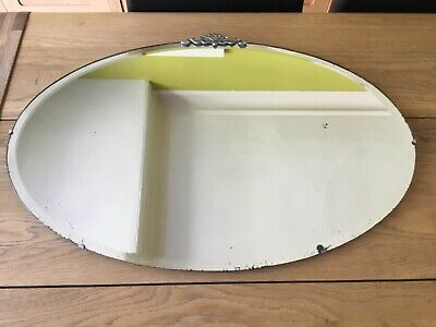 Large Vintage Mirror art deco beveled edged frameless Oval mirror Metal Detail