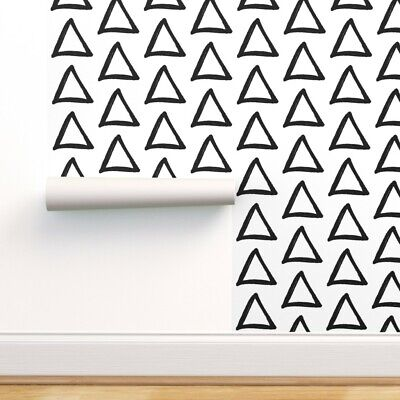 Peel-and-Stick Removable Wallpaper Triangle Geometric Shape Black White Sketch