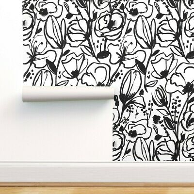Peel-and-Stick Removable Wallpaper Black And White Sketch Line Drawing Ink