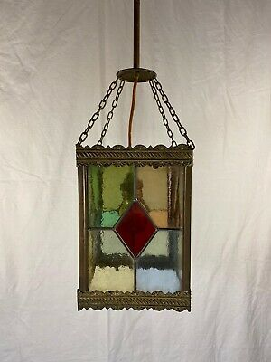 1990 Victorian Brass Colored Glass Hang Lamp