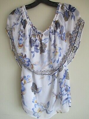 WHITE HOUSE BLACK MARKET Off the Shoulder Floral Embroidered Blouse/Top SZ Small