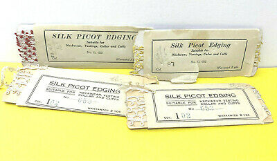 Four VTG Packages of Silk Picot Edging in Different Colors & Styles