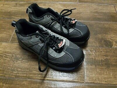 BRAHMA MENS GRAY & BLACK LEATHER STEEL TOE WORK SHOES SIZE 9 New
